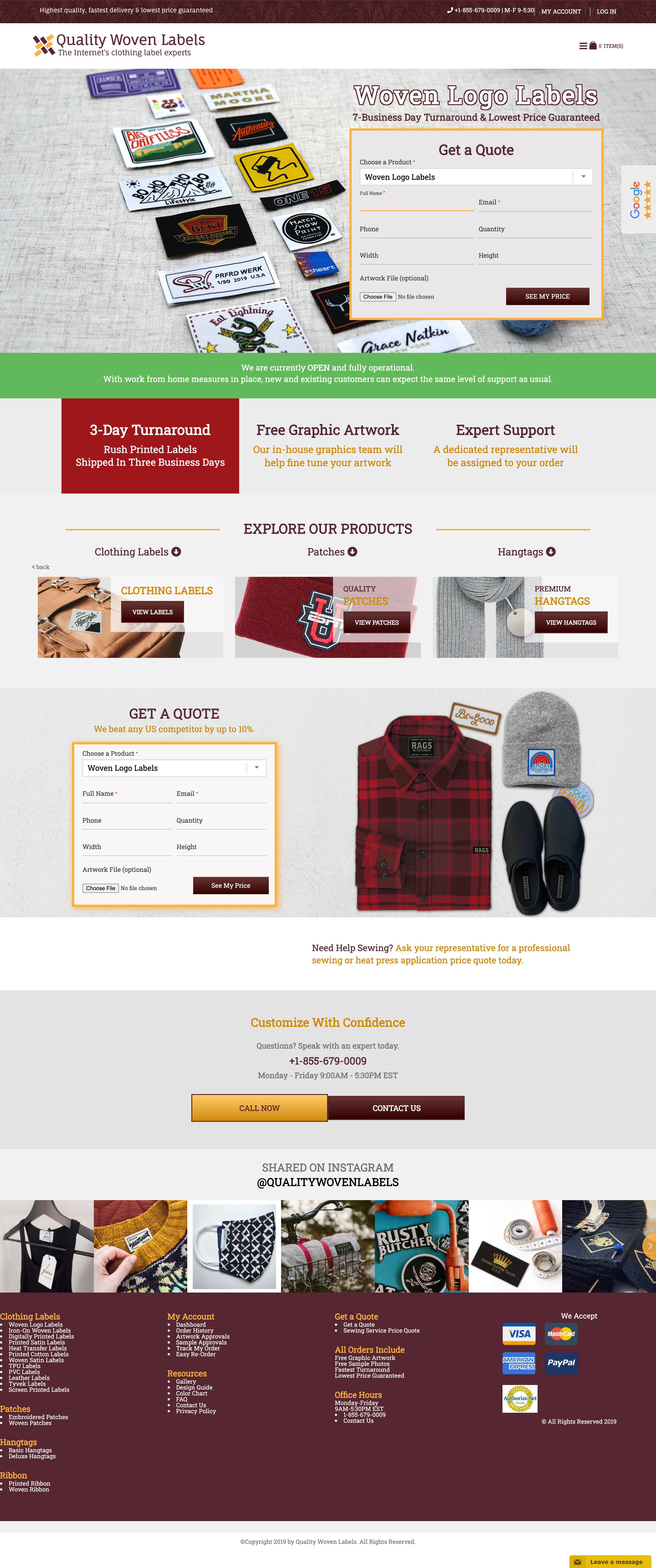 Quality Woven Labels - Full Website Layout by Ok Omni