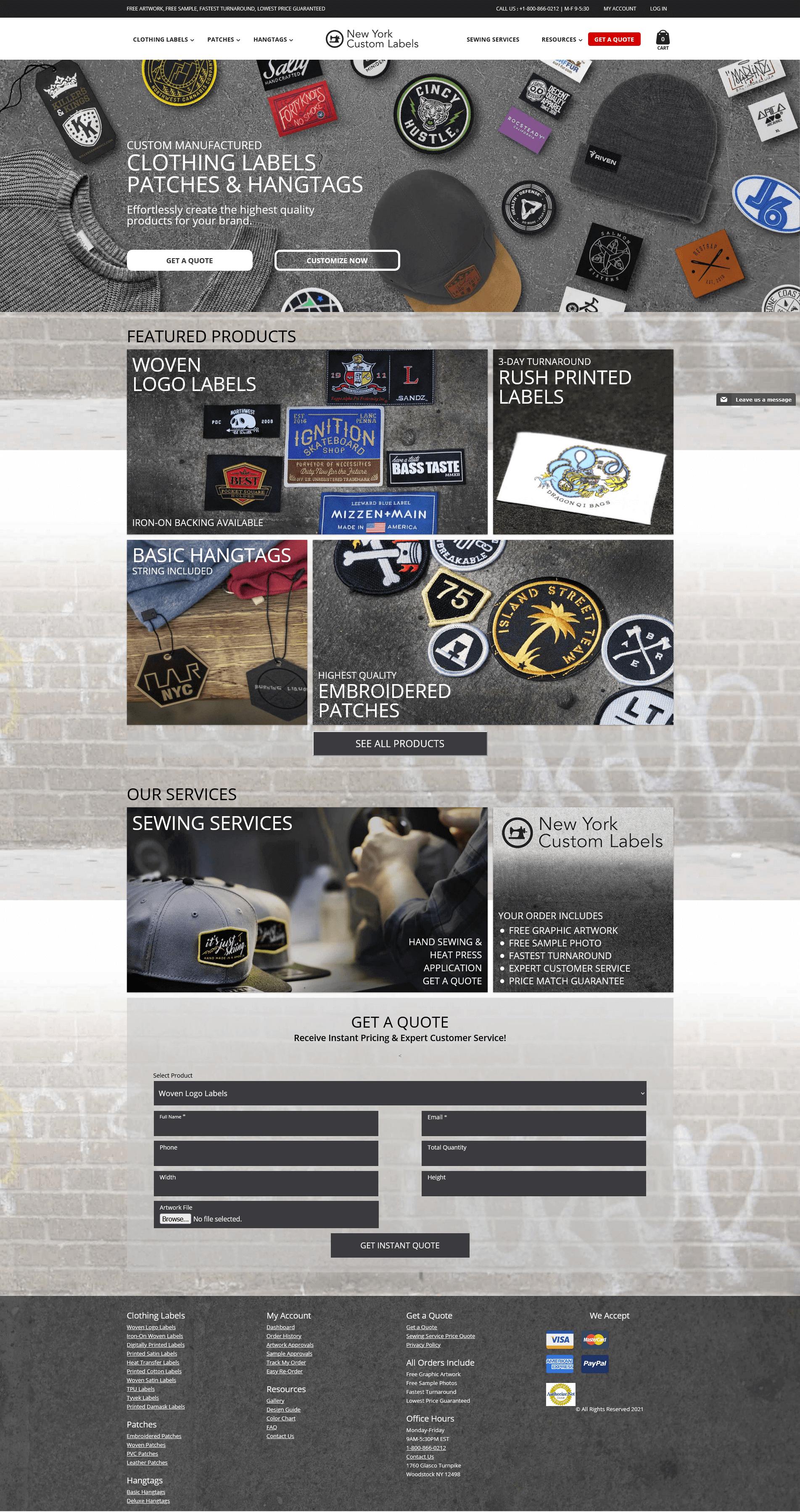 New York Custom Labels - Full Website Layout by Ok Omni
